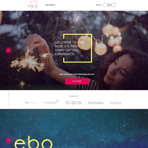 ebo | Landing Page for Smart Gift Box