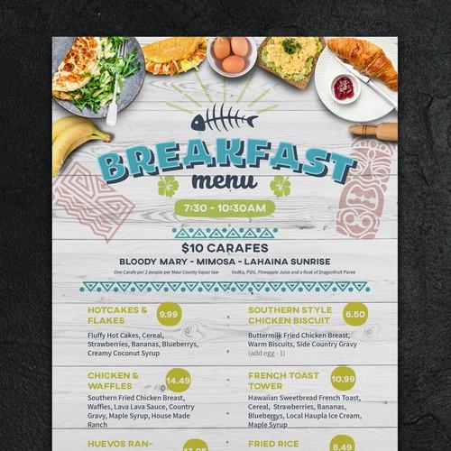 Breakfast menu for Hawaiian Restaurant