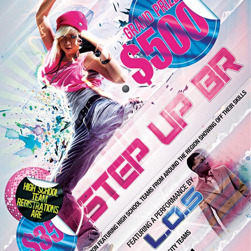 Colorful photoshop poster design for dance contest needs a new print or packaging design