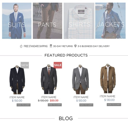 Home page design for leading mens fashion retailer