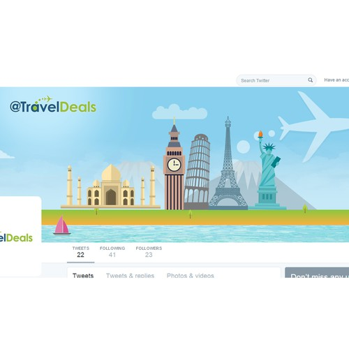 Twitter Cover Design for TravelDeals