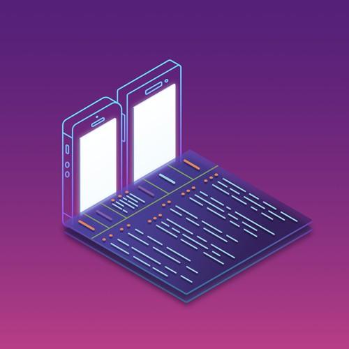 Isometric Illustration about Data Synchronization Technologies