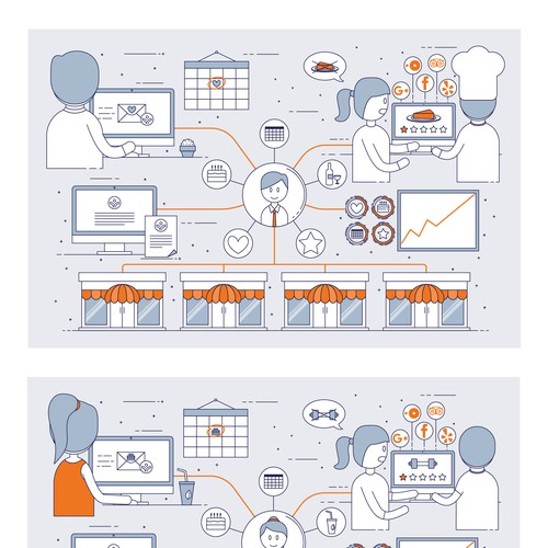 Icon-style infographic for a B2B company