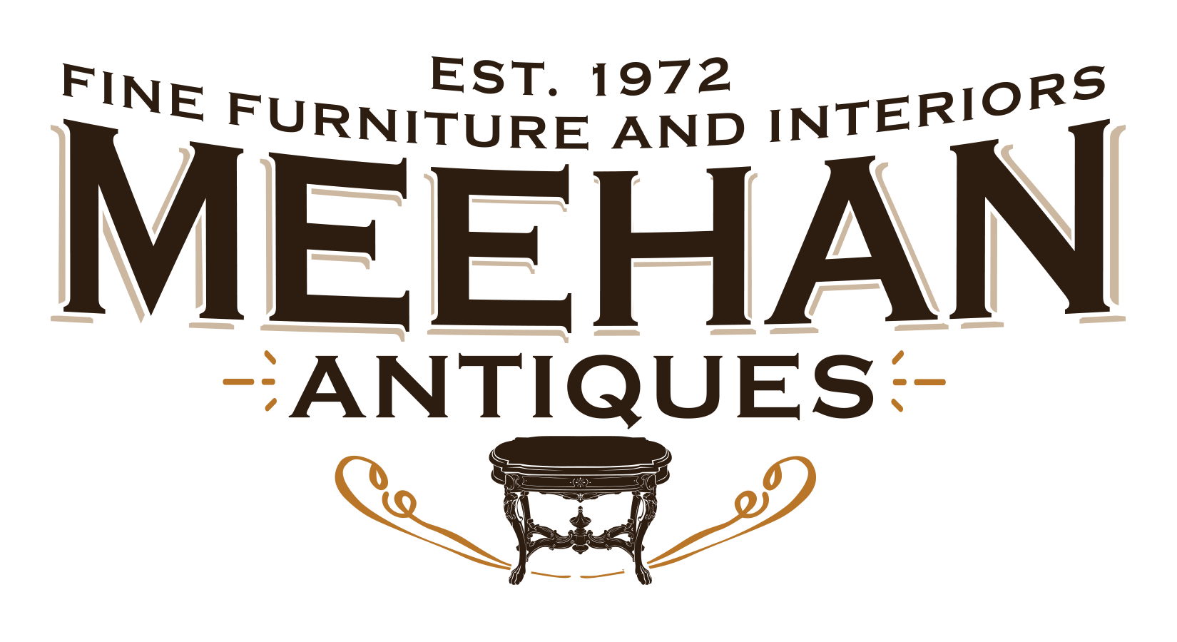 "Create a vintage logo for a family-run antique furniture business Meehan Antiques at ""Hillside Farm"""