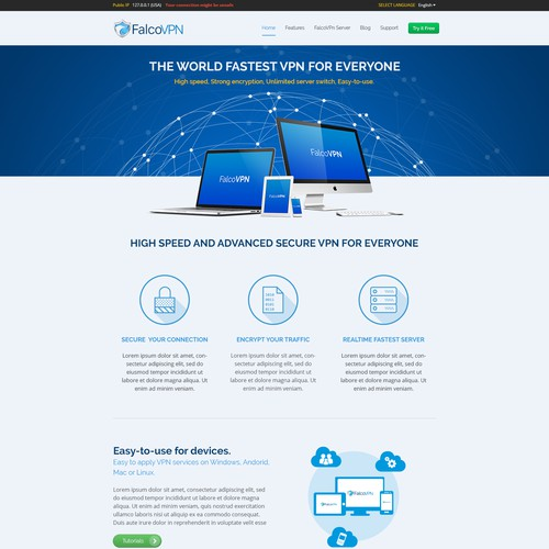 Design of home page of VPN product website