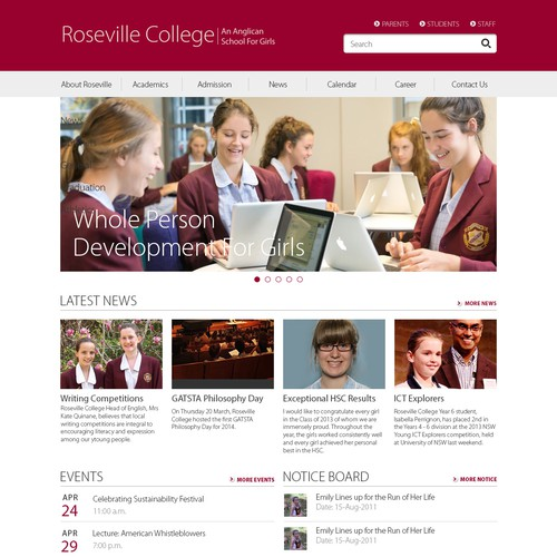 SharePoint Intranet Design for Private Girls School