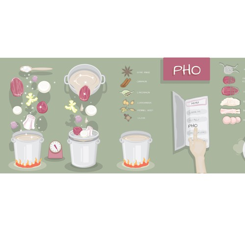 Pho illustration for restaurant wall