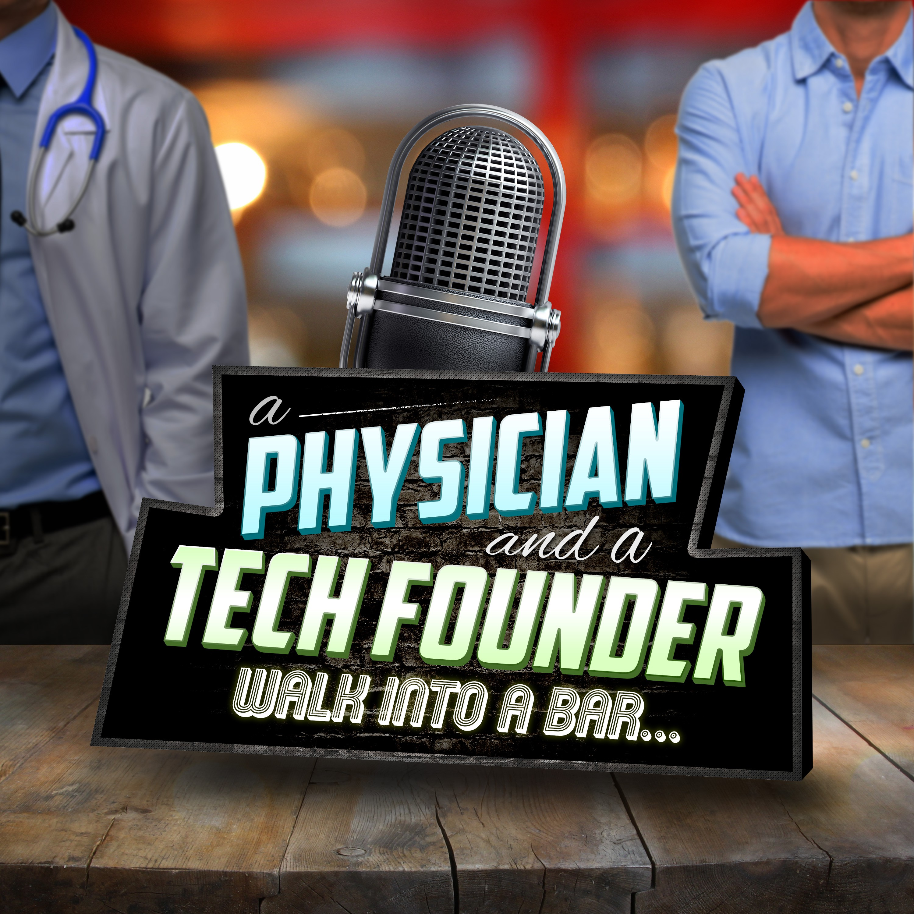 Design a podcast logo for a new podcast with a successful doctor and business tech founder.