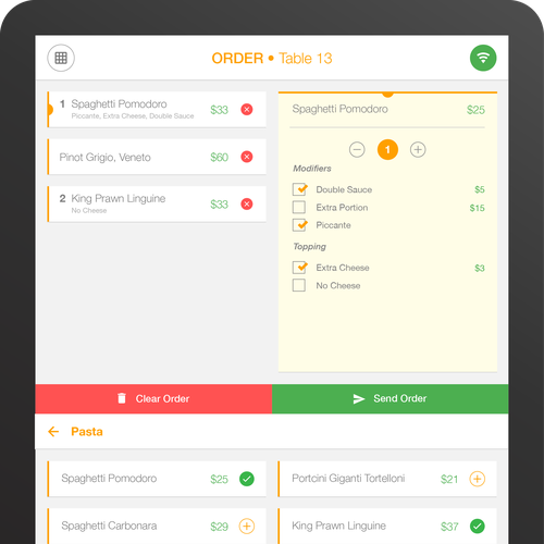 UI for a Waiter's pad app