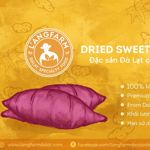 Sweet potato product label for Langfarm