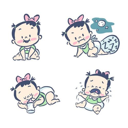 Baby mascot emoticons / emoji