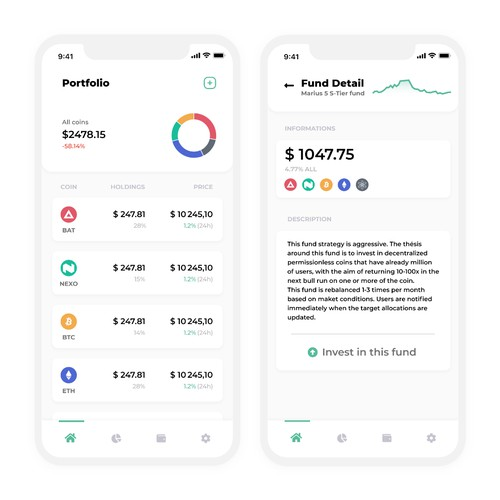 Cryptocurrency mobile app concept