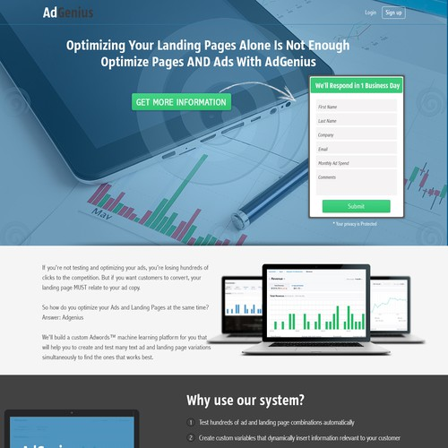 Create a landing page for an advertising technology company