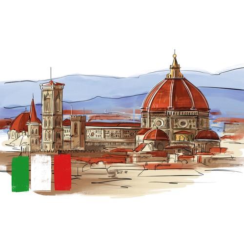 Digital illustration for travel book