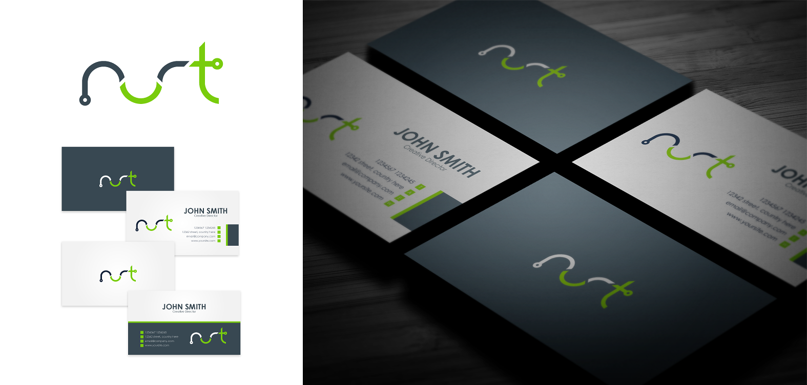 logo and business card for Nurt
