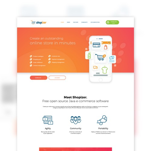 Ecommerce service landing page