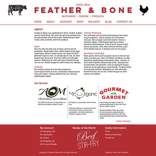 Website About Us page design for High End Online gourmet grocer
