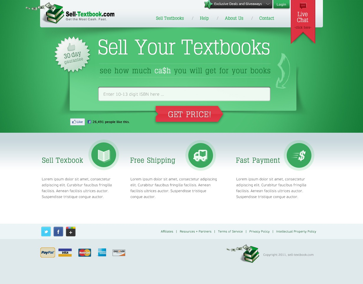 New website design wanted for Sell-Textbook.com