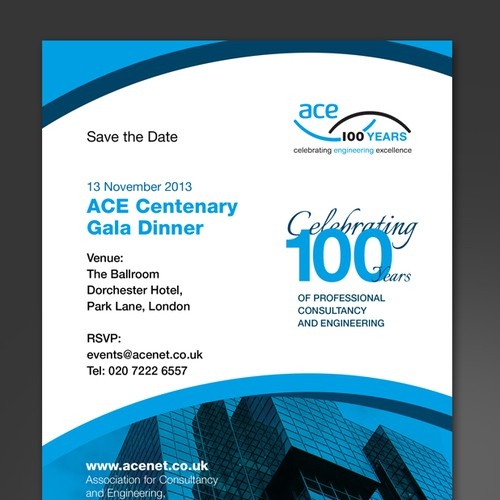 save the date card invitation for Association for Consultancy and Engineering