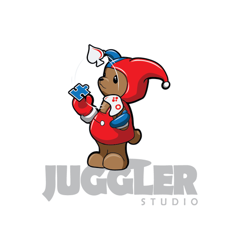 cute logo, video game developer with an Harlequin character.