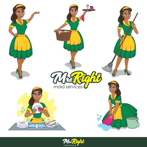 Maid Service Fun & Creative Logo