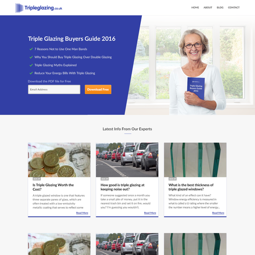 Website design for TripleGlazing blog