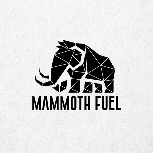 "Strong and simple logo of a woolly mammoth for ""Mammoth Fuel"""