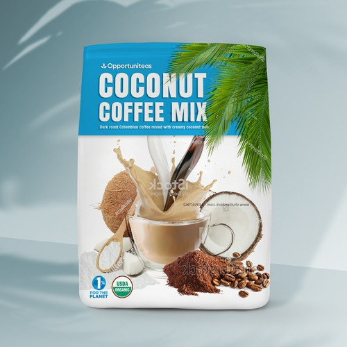 Bold package for coconut and coffee powder