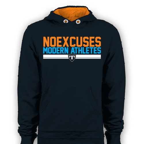 Create a tough pre-workout hoodie (NOEXCUSES)