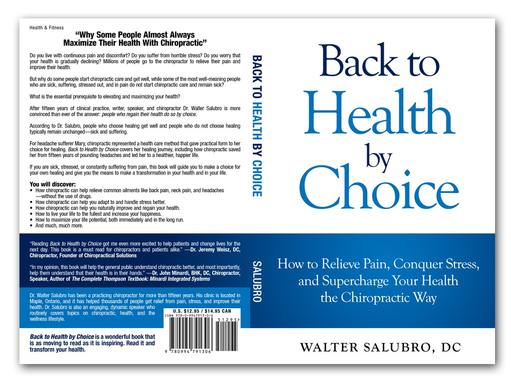 Create an eye-catching book cover that is simple and bold. For a chiropractic patient book.