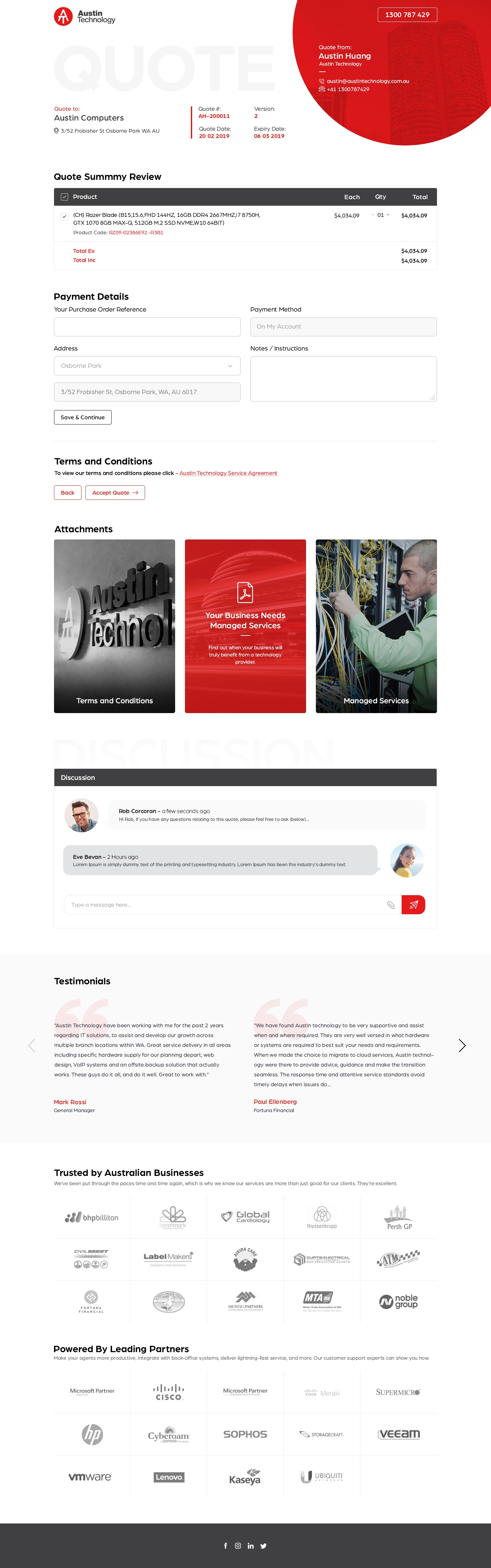 Online quote delivery page design
