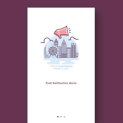 Illustrations of an iPhone Application welcome screen.