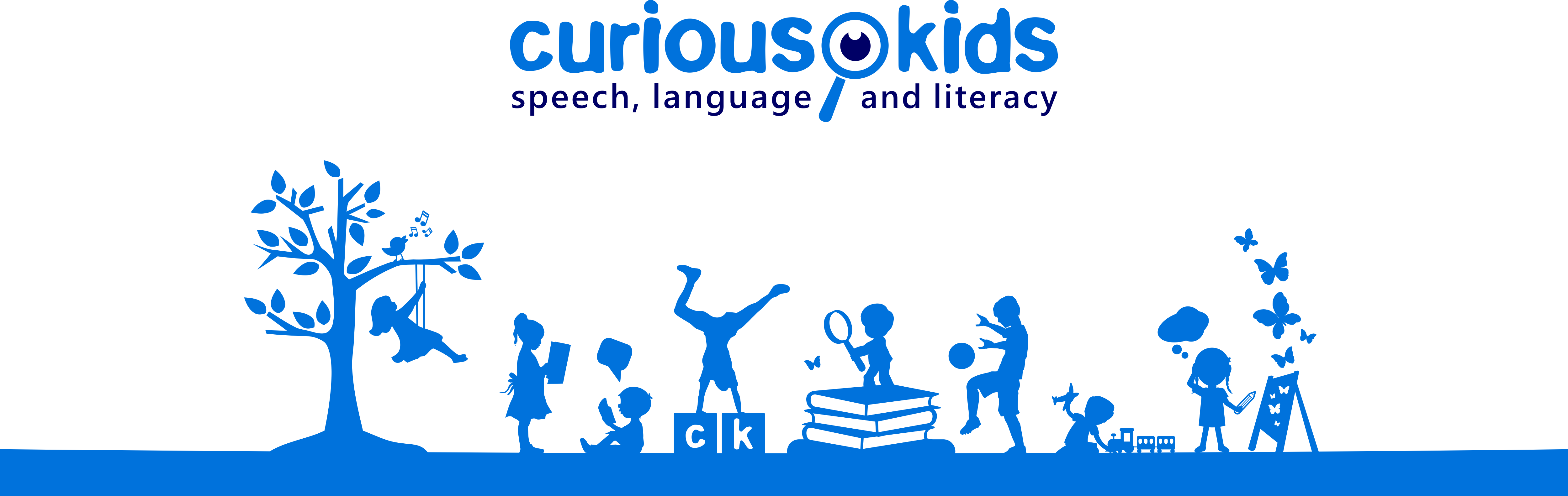 Create a fun silhouette style image for a children's speech pathology service.