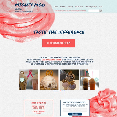 Home page for Ice Cream shop