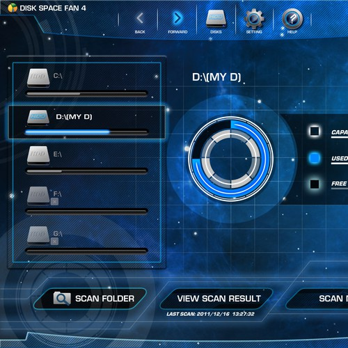 Disk Space Fan UI Design