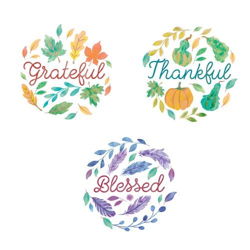 Thanksgiving watercolor illustrations