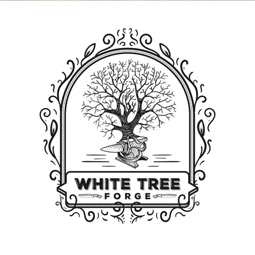 Classic hand-drawn logo for white tree forge