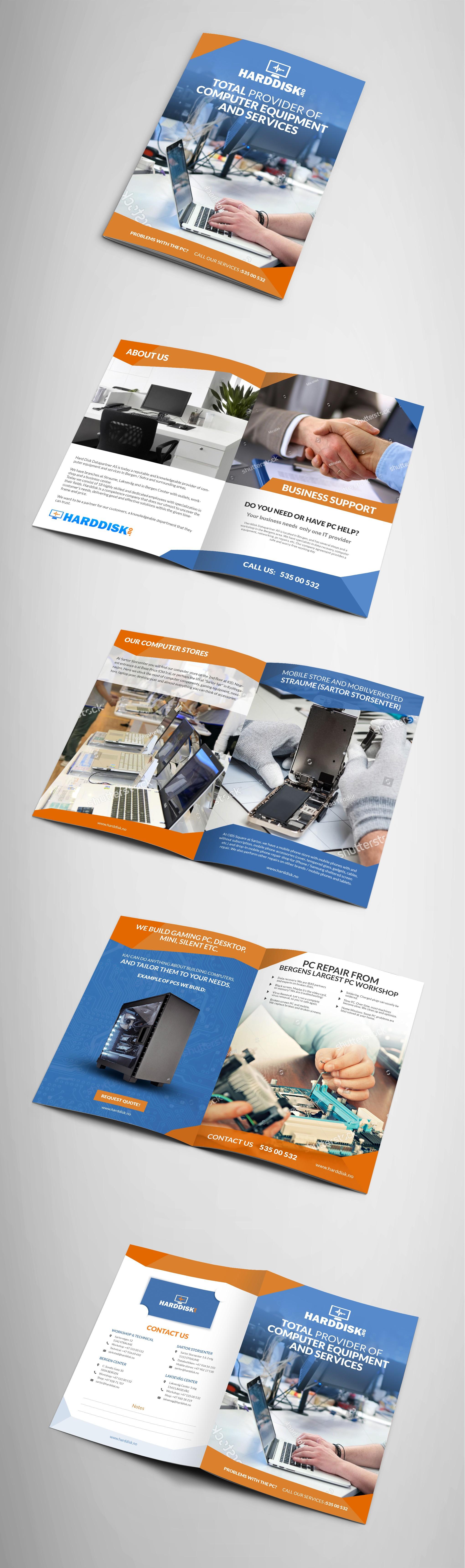 Design a computer service brochure for Harddisk