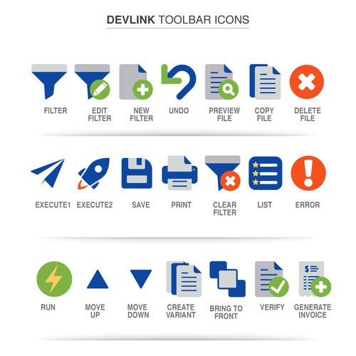 Software Company Devlink was needed Toolbar Icons