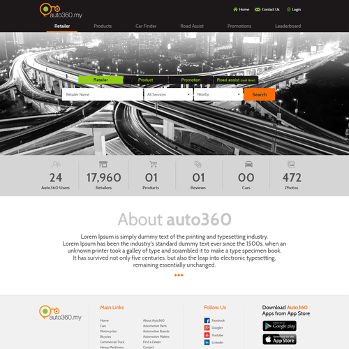 Redesign for the road assist & automotive directory website