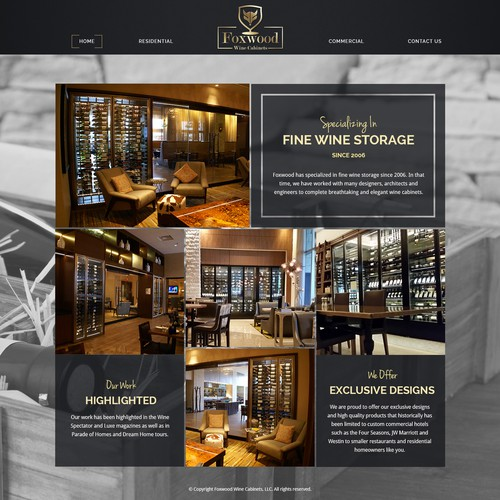 Landing Page Design for Foxwood Wine Cabinets