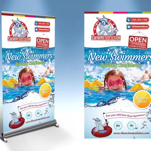 Create 3 simple and fun banner designs for The Swim Revolution
