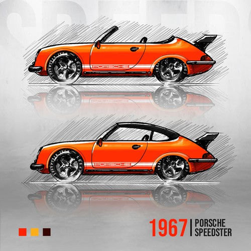 1967 Porsche Speedster Concept Illustration