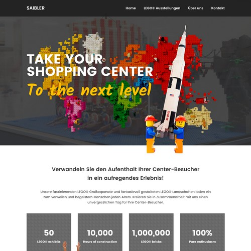 Modern website design for LEGO® exhibition agency