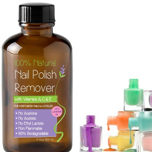Label for 100% natural nail polish remover