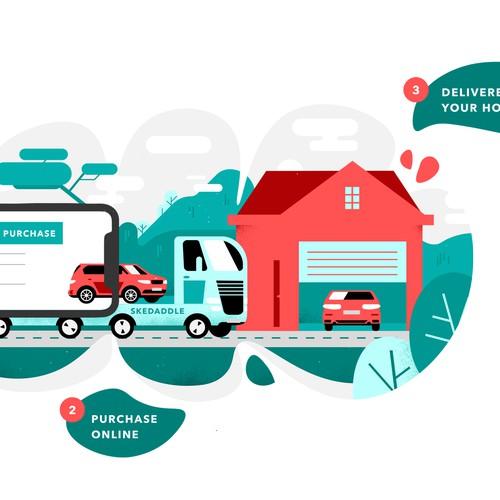 Vibrant illustration for an automotive company