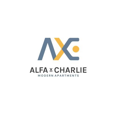 AXC letter techno concept.