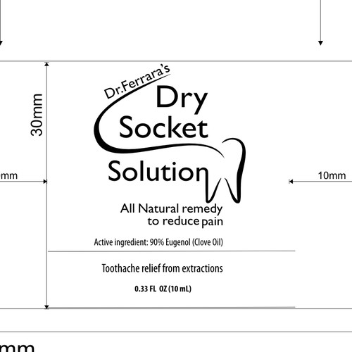 Bold product label for dry socket solution
