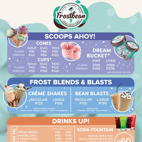 Menu for Ice Cream and Coffee Shop