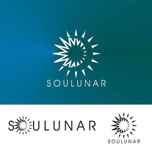 Create an eye-catching sun and moon logo for Soulunar